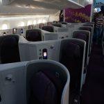 【タイ航空ビジネスクラス搭乗記】快適なヘリンボーン仕様のシートでバンコクへ